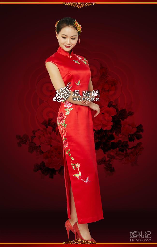 蝶恋花手工刺绣旗袍 中式嫁衣 中式结婚礼服