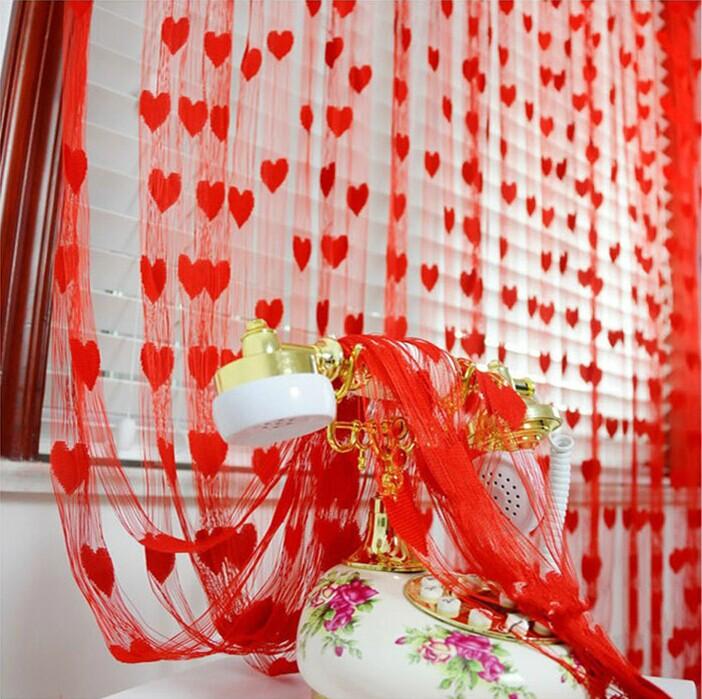 婚庆结婚用品门帘 婚房布置装饰婚礼布置窗帘韩式桃心形爱心线帘