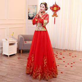 新款秀禾服新娘礼服结婚嫁衣中式结婚秀和服拖尾婚纱