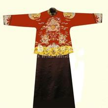 华芬嫁衣 男士 长袍马褂 真丝织锦缎 手工刺绣 龙团江水海牙