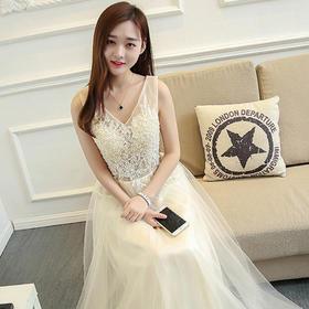 新款伴娘服长款晚礼服修身主持人毕业礼服女宴会显瘦10