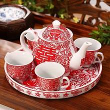【包邮】敬茶杯创意陶瓷婚庆茶壶结婚茶具套装新婚礼物