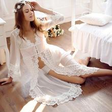 宫廷透视时尚优雅蕾丝裙睡袍