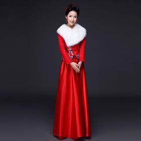 (送头花耳环)旗袍冬季加厚保暖长袖长款新娘结婚敬酒服
