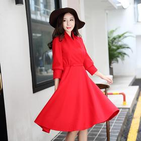 秋冬新款修身加厚毛呢连衣裙回门礼服大红色长袖v领裙子