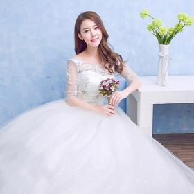 秋冬新款韩版白色蕾丝简约齐地婚纱中袖一字肩婚纱