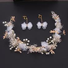 韩式满天星头饰新娘白色绢花发带蜻蜓发箍花环婚纱发饰结婚配饰品
