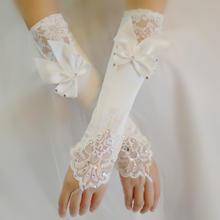 蝴蝶结婚纱结婚礼服配饰新娘缎白色伴娘旗袍手套露指新款长款蕾丝