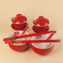 【包邮】结婚对杯对碗陶瓷喜杯喜碗筷套装婚礼新人敬茶杯创意嫁妆