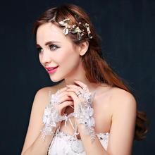 新娘手套婚纱短款蕾丝夏季结婚韩式婚礼配件勾指手套