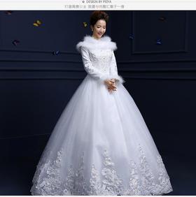 新款冬季婚纱加厚冬装新娘长袖齐地保暖秋冬款婚纱205