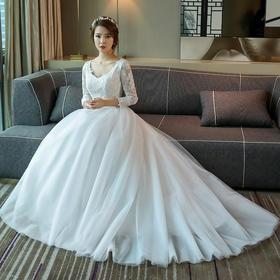 婚纱礼服 新款冬简约齐地双肩V领新娘结婚长袖拖尾一字肩