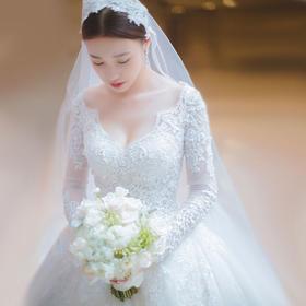 新款韩式双肩V领长袖婚纱礼服新娘长拖尾齐地冬季蕾丝