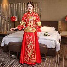 新娘中式嫁衣新款秀禾服古装龙凤褂长袖红色旗袍敬酒服修