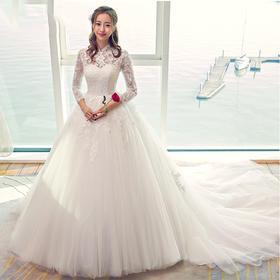 送3件套新娘大拖尾韩式立领长袖婚纱冬季 新款孕妇齐地