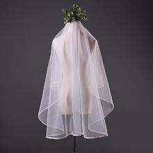 韩式新娘头纱简洁白边婚礼短款新娘结婚瑞士软网短头纱1.5米