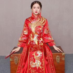 新款新娘结婚敬酒服中式长袖婚纱礼服嫁衣龙凤褂裙