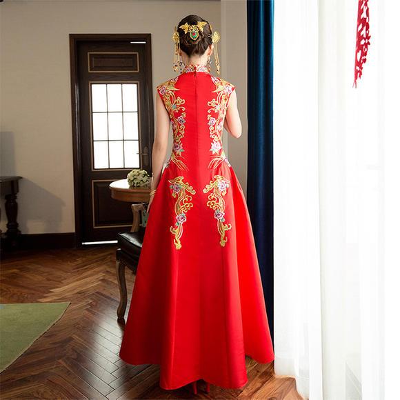 新款中式礼服秀禾服明星敬酒服林心如同款婚纱复古旗袍中