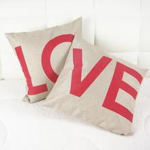 【于归】Love合成亚麻婚庆抱枕套家居沙发靠垫无芯