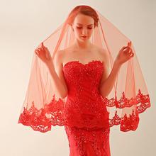 2016新款高档红色新娘头纱薄纱蕾丝花边1.5米超长头纱49