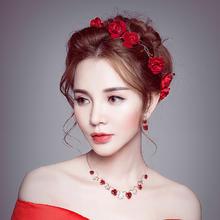新娘头饰红色韩式敬酒服三件套装