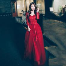 送项链耳坠 冬季新款韩式新娘礼服长袖结婚宴会晚礼服