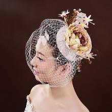 【桃之夭夭】新娘头饰欧美高端定制亚麻手工头饰新娘饰品婚纱配饰