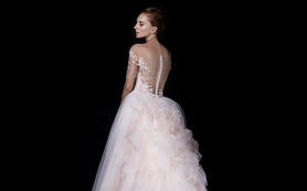 RonRonFan粉色钉珠大拖尾公主主纱