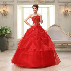 新款豪华大红色蕾丝绣花显瘦婚纱新娘结婚礼服婚纱
