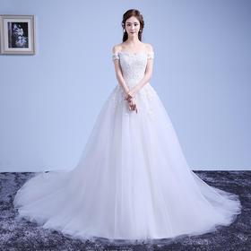 新款一字肩婚纱礼服新娘齐地长袖显瘦韩式孕妇大拖尾婚纱