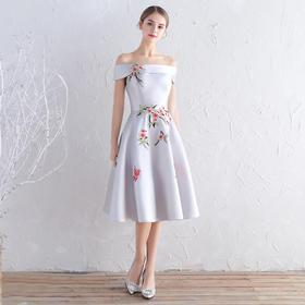 宴会晚礼服 新款一字肩显瘦中长款结婚礼服连衣裙伴娘服