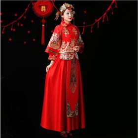 特惠!还送耳坠 新娘婚礼敬酒服中式结婚礼服嫁衣旗袍古装秀禾服