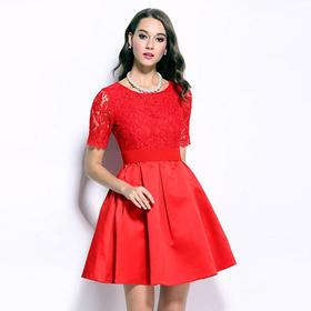 秋冬新款女装 提花腰松紧带新娘装 春秋敬酒红色加大礼服回门服