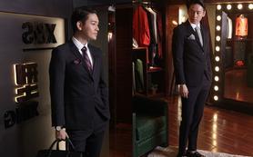 【MSY男士】韩式花样条纹西服套装
