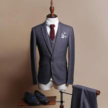 送领带衬衫】黑色西服套装男士三件套西装修身新郎结婚礼服竖条纹