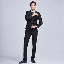 送白衬衫领带】e黑色韩版修身男士西服套装结婚礼服小西装三件套