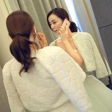 新娘毛披肩加厚保暖结婚婚纱披肩修身时尚秋冬季白色披肩