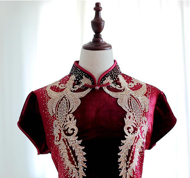 【帝安娜婚纱】暗红亮面钉珠妈妈装