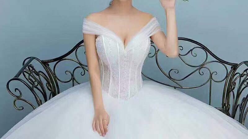 〔初心-LOVE〕一字肩领新娘结婚纱礼服