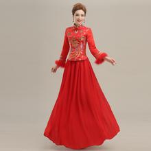 NCAI 中式敬酒服新娘旗袍长款中袖新娘装显瘦修身红色结婚