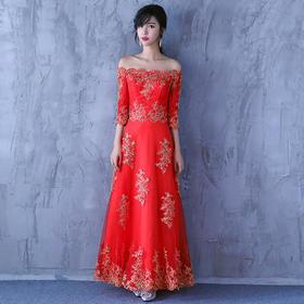 新娘敬酒服 新款一字肩中袖长款修身结婚礼服
