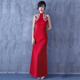 敬酒服新娘 新款中式旗袍长款鱼尾修身晚礼服