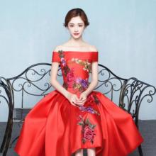 秋冬新款敬酒服新娘一字肩结婚礼服中长款宴会红色晚礼服修身