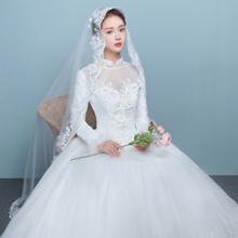 [送三件套]新娘结婚齐地加棉冬款婚纱复古立领婚纱冬季长袖婚纱