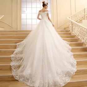 新款冬季韩式孕妇显瘦一字肩长拖尾新娘结婚大码