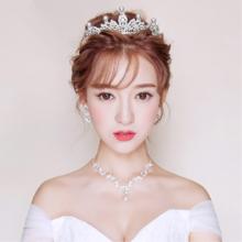 新娘头饰三件套装韩式结婚盘发饰品婚纱配饰皇冠项链耳环发饰