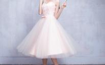 伴娘礼服新款浅粉色伴娘团礼服中长款宴会韩版姐妹团伴娘服伴娘裙