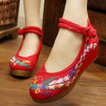 春夏新款老北京布鞋女中式婚鞋龙凤松糕底绣花鞋唐装旗袍新娘鞋