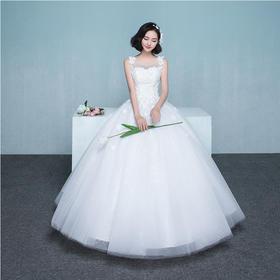 女神价!!新款韩式双肩显瘦花朵婚纱礼服齐地婚礼