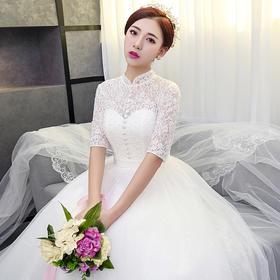 婚纱礼服 新款秋冬复古立领中袖婚纱公主冬季新娘结婚长袖